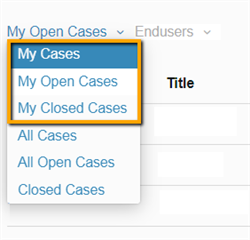 Image showing the filters available for the case list with the cases owned by the accessing user highlighted