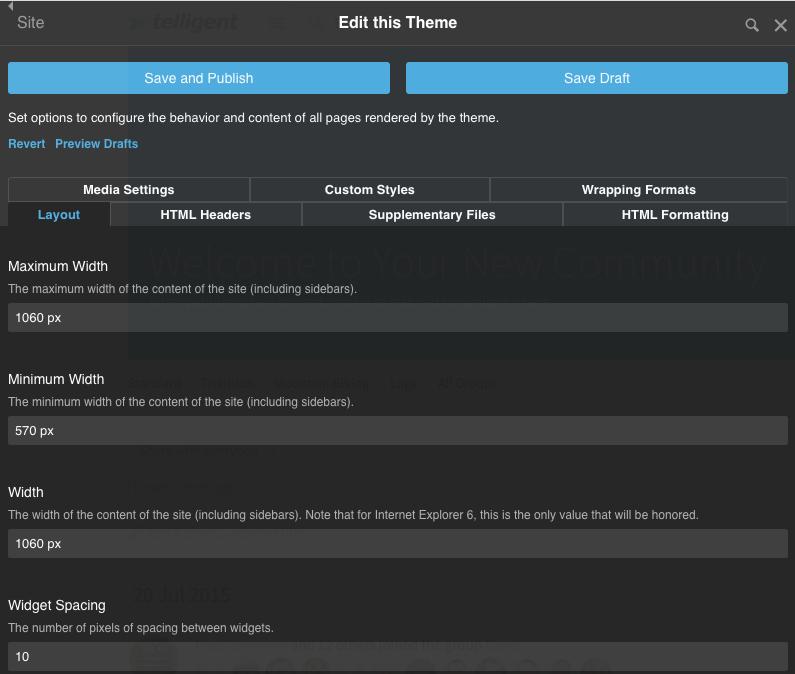 manage site theme