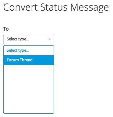 convert status message to forum thread