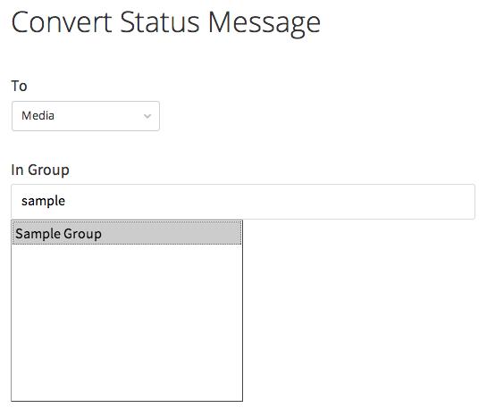 convert status message to media