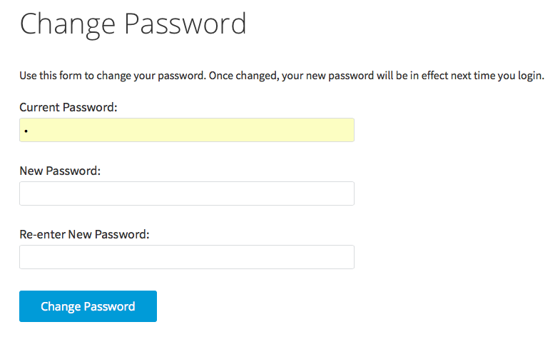 change password form